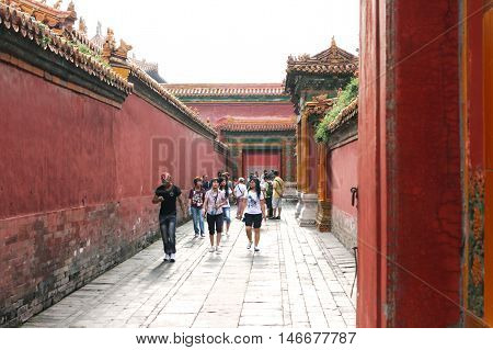 Beijing. China. - August 20, 2009 - Palace in the Forbidden City. Gate in the narrow corridors of the Forbidden City. Chinese symbol in August 20, 2009 in Beijing. China