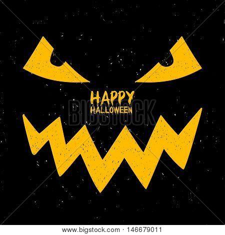 Happy Halloween greeting card. Funny cartoon face of smiling Jack O'Lantern pumpkin in the dark.