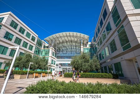 Cupertino, CA, USA - August 15, 2016: the Apple world headquarters at One Infinite Loop. Apple is a multinational corporation that produces technology devise.