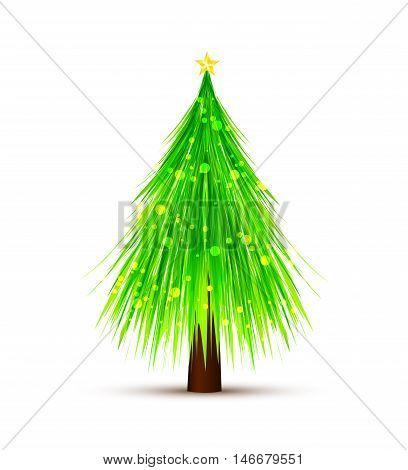 Vector illustration white background with Christmas tree