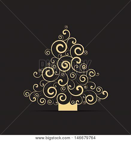 Vector illustration black background with Christmas tree