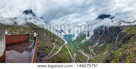 Panorama Troll road lookout observation deck view point beautiful nature norway.