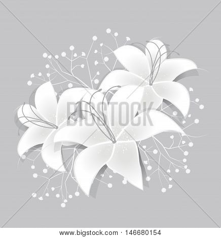 Vector romantic floral background with White lilies