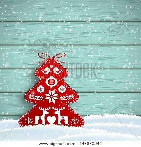 Christmas decoration in scandinavian style, red rich decorated tree in front of blue wooden wall, vector illustration