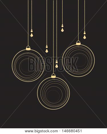 Vector Christmas balls on a black background