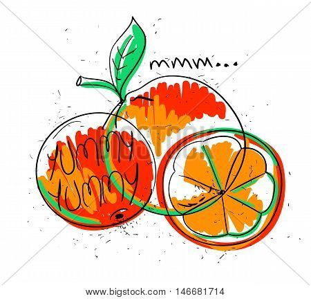 Hand drawn illustration of isolated colorful orange fruit on a white background. Bright funny cartoon orange fruit with text yummy yummy.