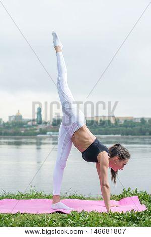 Fit woman doing yoga asana leg is lifted adho mukha svanasana downward facing dog