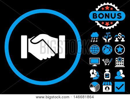 Acquisition Handshake icon with bonus. Glyph illustration style is flat iconic bicolor symbols, blue and white colors, black background.