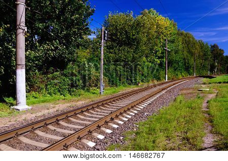 Railway Line Going into the Distance among Green Summer Grass and Foliage; Clear Blue Sky in the Background