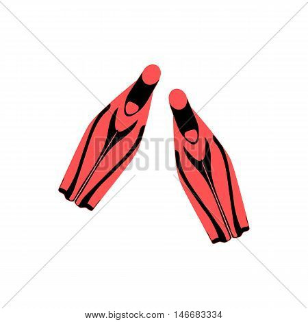 Stylized Icon Of A Colored Flippers On A White Background