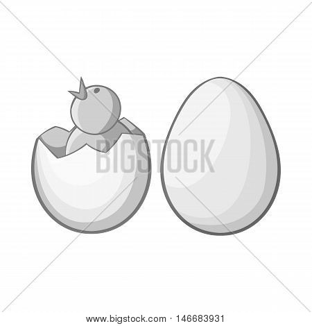 Chick in egg icon in black monochrome style isolated on white background. Animals symbol vector illustration