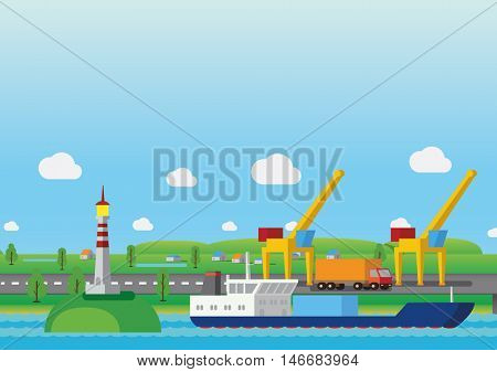 Transportation by sea concept illustration. Sea shipping. Global delivery.