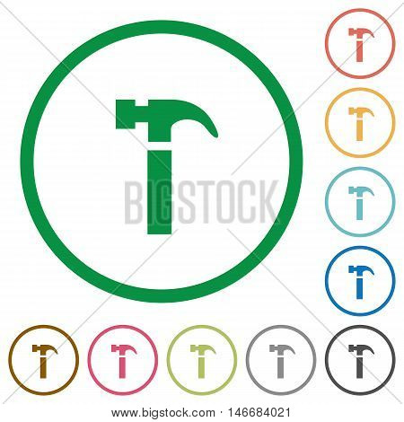 Set of hammer color round outlined flat icons on white background