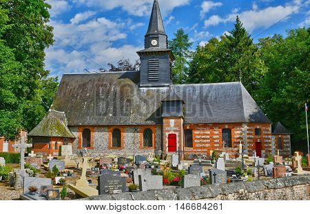 Bois Heroult France - june 23 2016 : the Notre Dame church and cemetery