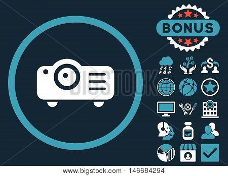 Projector icon with bonus. Glyph illustration style is flat iconic bicolor symbols, blue and white colors, dark blue background.