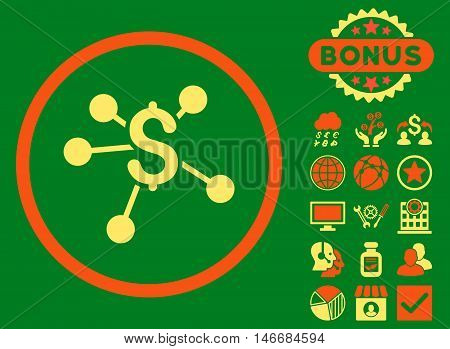 Money Emission icon with bonus. Glyph illustration style is flat iconic bicolor symbols, orange and yellow colors, green background.