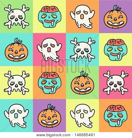 Flat linear pattern with Halloween icons. Four cute characters for Halloween. Pumpkin, skull, ghost and zombie. Bright vector Illustration.