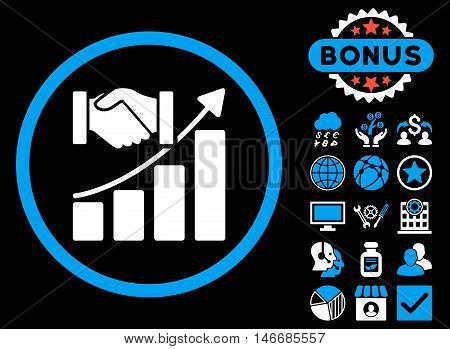 Acquisition Growth icon with bonus. Glyph illustration style is flat iconic bicolor symbols, blue and white colors, black background.