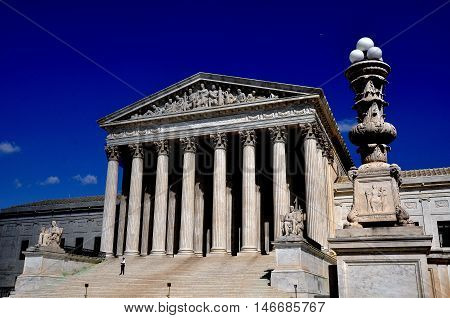 Washington DC - April 9 2014: Neo-classical facade of the 1935 United States Supreme Court on First Street SE