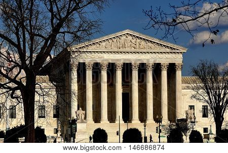Washington DC -April 9 2014: Neo-classical west front of the 1935 United States Supreme Court on First Street SE
