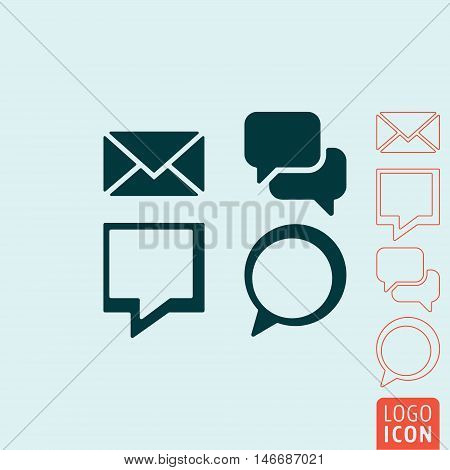 Message icon. Set of messages symbols. Vector illustration