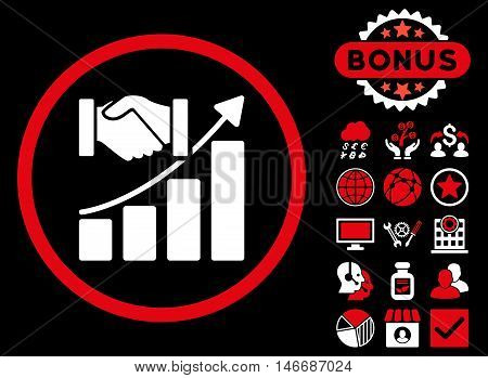 Acquisition Growth icon with bonus. Glyph illustration style is flat iconic bicolor symbols, red and white colors, black background.