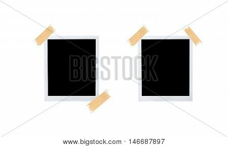 Set of blank instant photo frames attached with scotch isolated on white background.