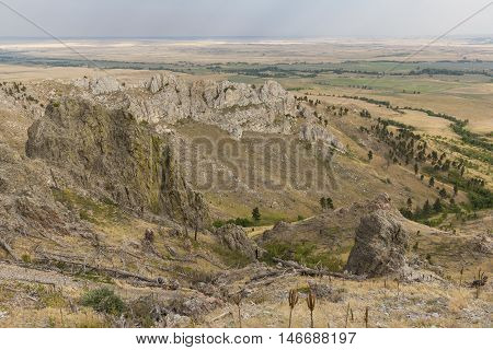 A scenic landscape on a butte during summer.