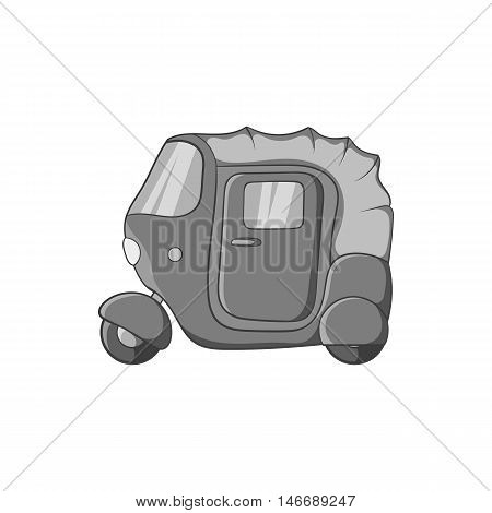 Tuk tuk taxi icon in black monochrome style isolated on white background. Transport symbol vector illustration