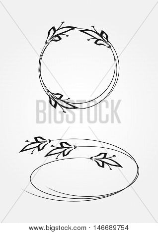 Simple floral frame. Round and oval. Two isolated element.