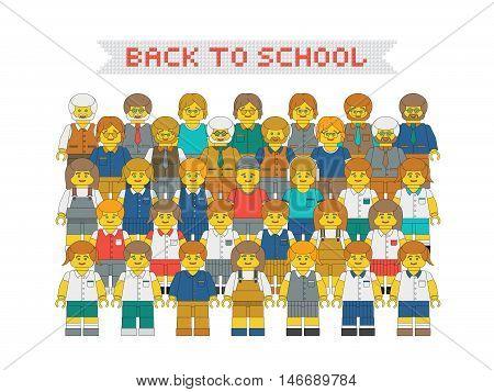 New academic year poster. Flat vector plastic toy people. Vector cartoon teachers and children in school uniform.