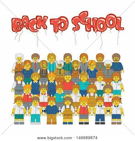 New academic year poster. Flat vector plastic toy people. Vector cartoon teachers and children in school uniform.