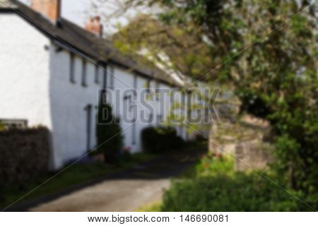 White Cottages In The Countryside Near Bude, Cornwall Out Of Focus.