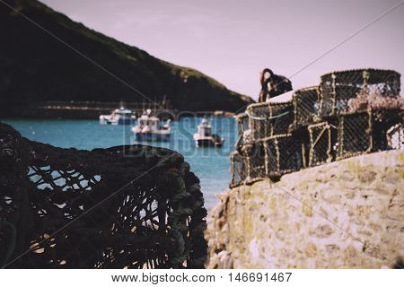 Lobster Traps In The Harbour, Port Issac Vintage Retro Filter.