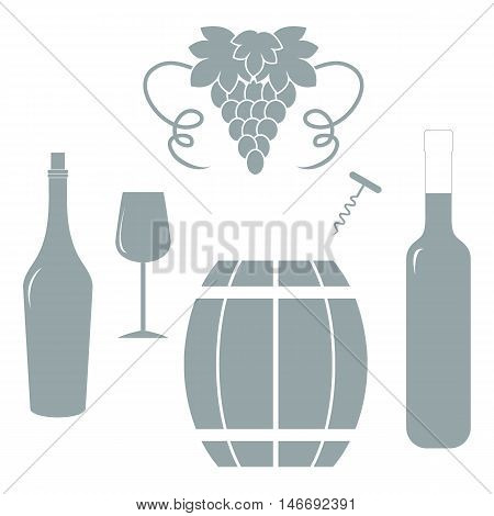 Stylized Icon Of A Colored Bottles, Glass, Corkscrew, Barrel Of Wine And Bunch Of Grapes