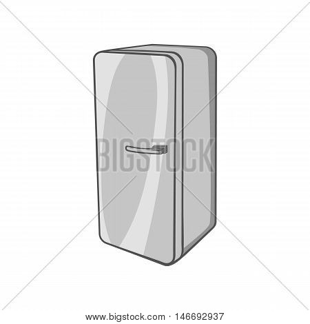 Refrigerator icon in black monochrome style isolated on white background. Kitchen appliances symbol vector illustration