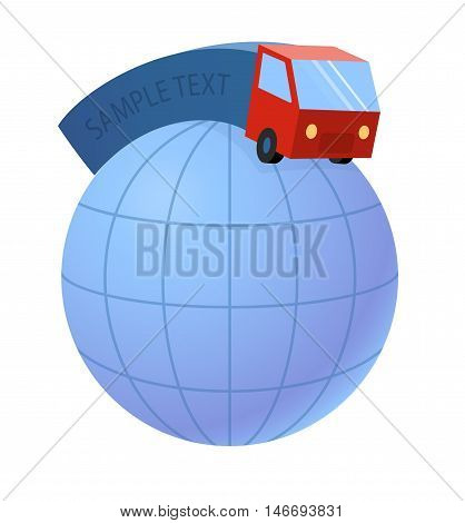 delivery truck and world earth globe - the trucking industry, illustration - isolated clipping path