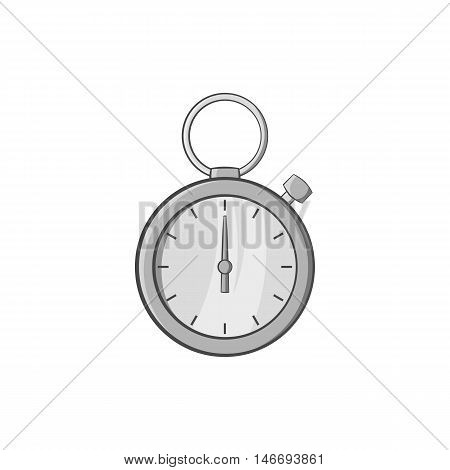 Stopwatch icon in black monochrome style isolated on white background. Training and time symbol vector illustration
