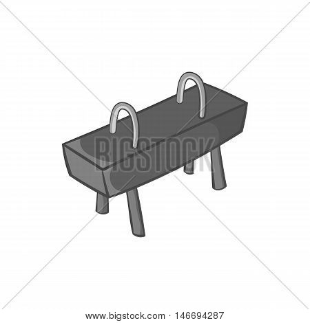 Pommel horse icon in black monochrome style isolated on white background. Sport symbol vector illustration