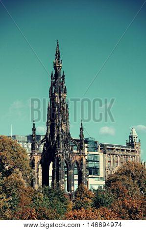 Scott Monument and Edinburgh city view in United Kingdom.