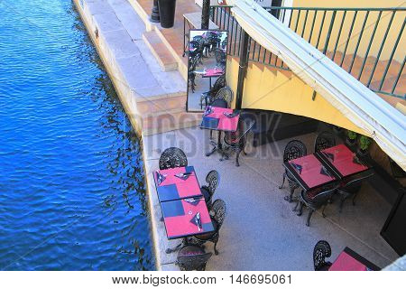 Port Grimaud, Provence, France - August 23 2016: Overhead View Of The Rialto Pizza Restaurant In Thi