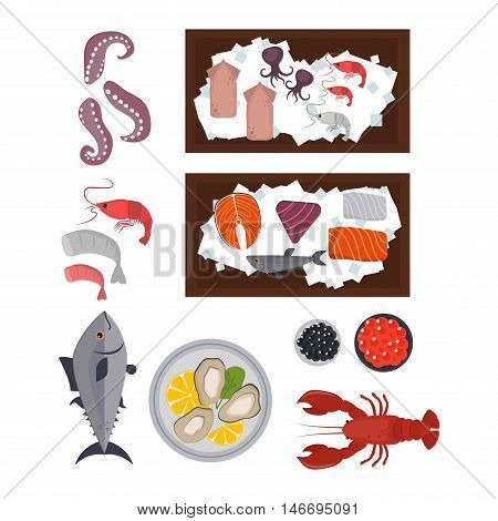 Seafood set design flat fish and crab. Seafood fish, seafood platter, lobster and crab, food oyster, fresh seafood, shrimp and menu sea food, octopus animal, shellfish. Fresh sea food collage