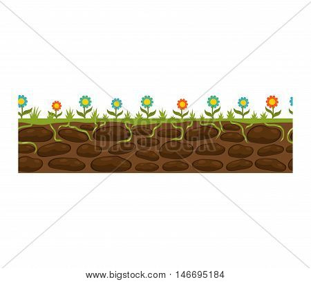 Illustration of cross section ground slice isolated on white background. Some ground slices piece nature cross outdoor. Ecology underground ground slice vector.