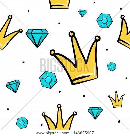 Vector seamless pattern with princess, queen crown and diamond. Hand drawn cute and fun fashion illustration sketch patches or stickers. Modern doodle pop art endless design