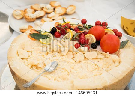 Food On A Dish Served During A Buffet Catering Party