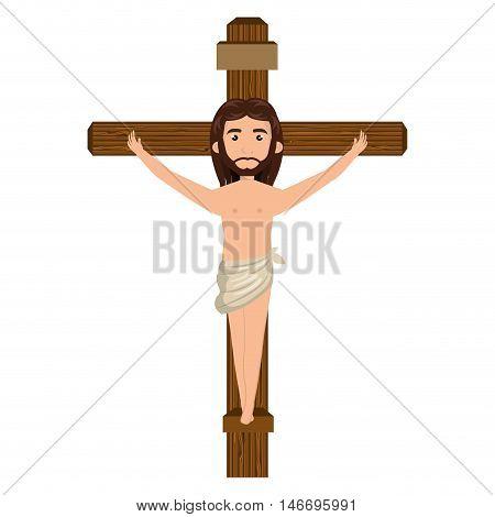 jesus christ man crucified on the cross cartoon. catholic religion. vector illustration
