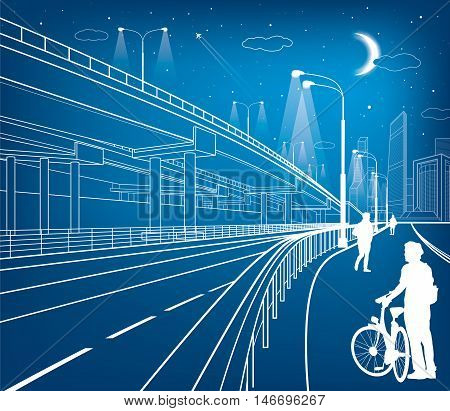 Automotive flyover, architectural and infrastructure composition, transport overpass, highway, white lines urban scene, people walking, night city on background, vector design art