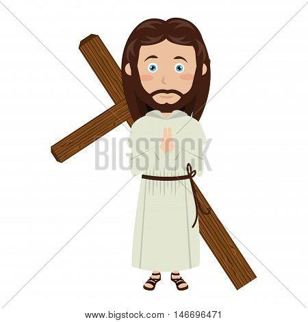 jesus christ man with cross wooden cartoon. catholic religion. vector illustration