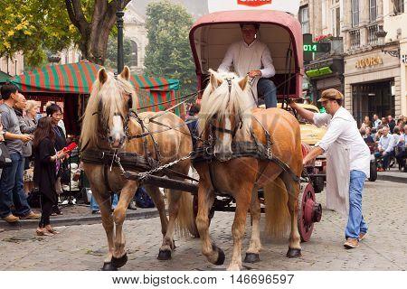 BELGIUM, BRUSSELS - SEPTEMBER 06, 2014: Belgian Beer Weekend 2014. The most famous beer festival in Belgium. Parade of beer manufacturers.
