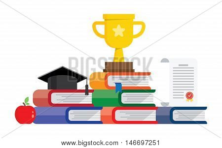 Graduation awards pedestal with cup, graduate cap and certificate. Books steps graduation podium.